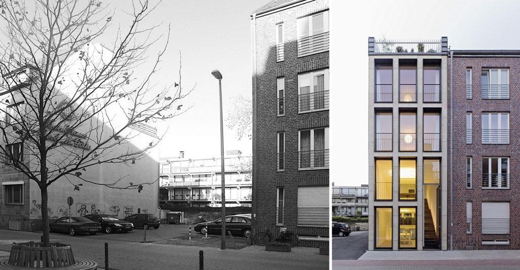Köln, Lückenbebauung in der Schwalbengasse (LK Architekten, 2007) (Bilder: links: LK Architekten, rechts: © Jens Willebrand)