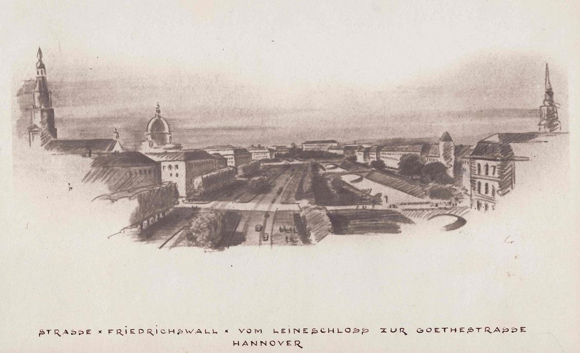 Hannover, Straße Friedrichswall vom Leineschloss zum Goetheplatz (Bild: Zeichnung des Stadtplanungsamts Hannover, wohl um 1953)