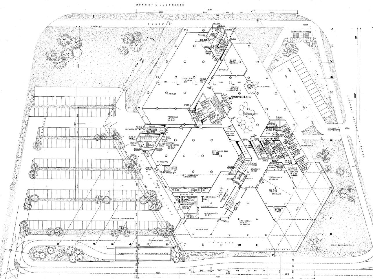 Grundriss des geplanten Neubaus von 1970 (Bild: Deutsche Rentenversicherung Baden-Württemberg)
