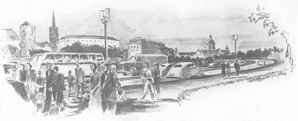 Hannover, Blick vom Friedrichswall auf den Neubau Carl Möller (Bild: Zeichnung des Stadtplanungsamts Hannover, wohl um 1953)