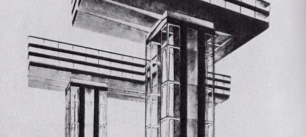"""El Lissitzky """"Wolkenbügel"""" (1923-25) (Bildquelle: El Lissitzky, Russland. Die Rekonstruktion der Architektur in der Sowjetunion (Neues Bauen in der Welt). Bd. 1, Wien 1930)"""