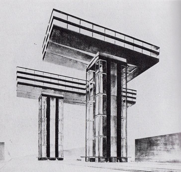 """El Lissitzky """"Wolkenbügel"""" (1923–25) (aus ©:  El Lissitzky, Russland. Die Rekonstruktion der Architektur in der Sowjetunion (Neues Bauen in der Welt). Bd. 1, Wien 1930"""