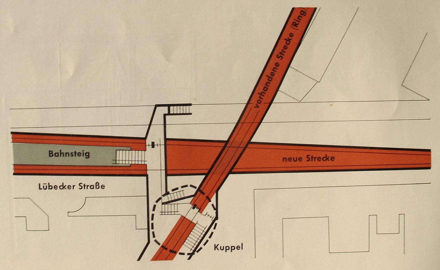 An der Lübecker Straße musste die Kuppelhalle ermöglichen, von der alten (Ring-)Linie in die neue tieferliegende U-Bahn-Strecke umzusteigen (Bild: U-Bahn-Bau in Hamburg, Hamburg 1961, S. 18, Archiv F. Grundmann)