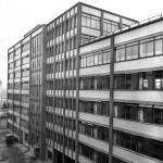 Rückseite des Verwaltungsgebäudes der Schering AG (Bild: Schering Archiv, Bayer AG, um 1954)
