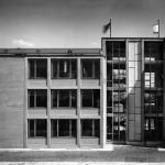 Treppenhaus des Mikrobiologischen Betriebs im Charlottenburger Schering-Werk, Ansicht von Südwesten (Bild: Schering Archiv, Bayer AG, 1959)