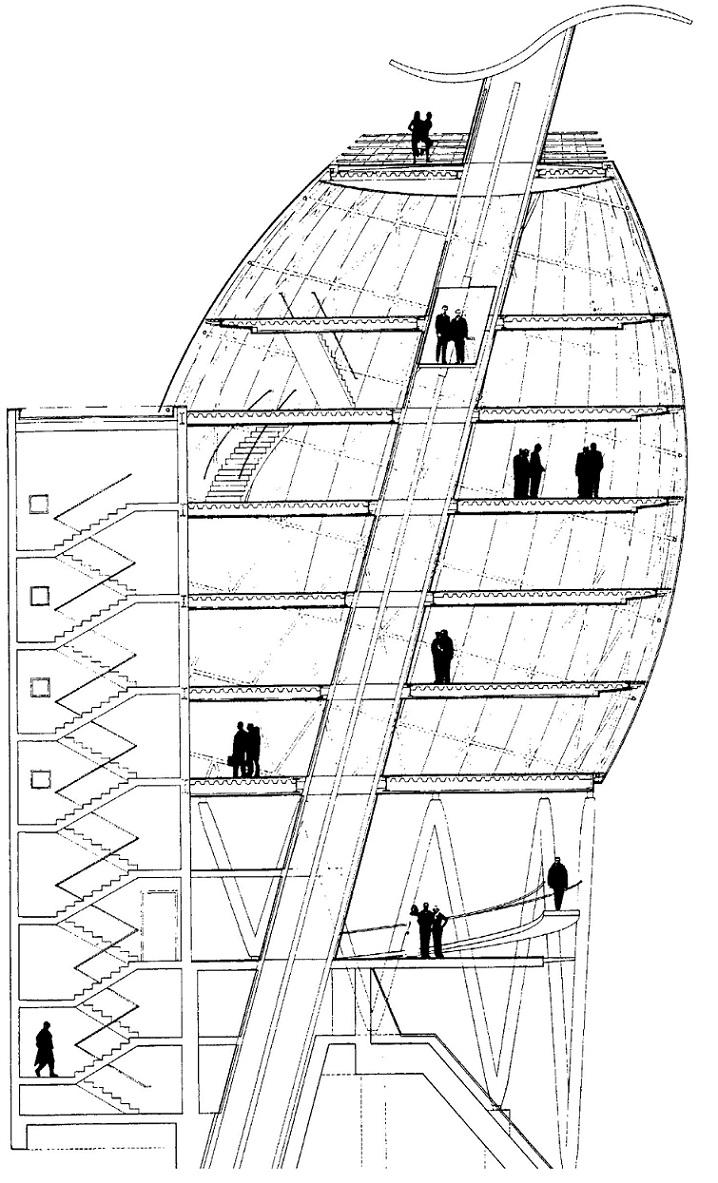 Hans Hollein, Gebäude mit Schrägaufzug (1994) (© aus: Meyhöfer, D. (Hg.), Architectural Visions for Europe. Braunschweig, Wiesbaden 1994)