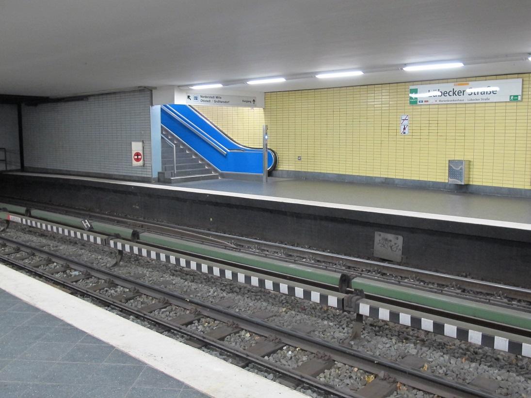 """Hamburg, U-Bahn-Station """"Lübecker Straße"""", unteridische Rolltreppe (Bild: K. Berkemann)"""