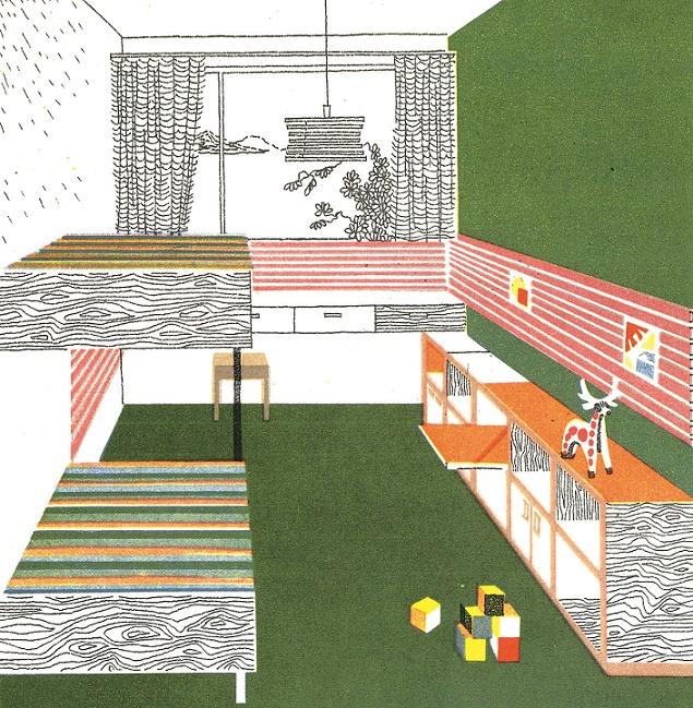 Typenentwurf für ein sowjetisches Kinderzimmer, 1973 (Bildquelle: Lisizian, M. W. u. a., Interjer obščestvennych i žilych zdanij (Die Inneneinrichtung von öffentlichen und von Wohnbauten), Moskau 1973, S. 224ff)