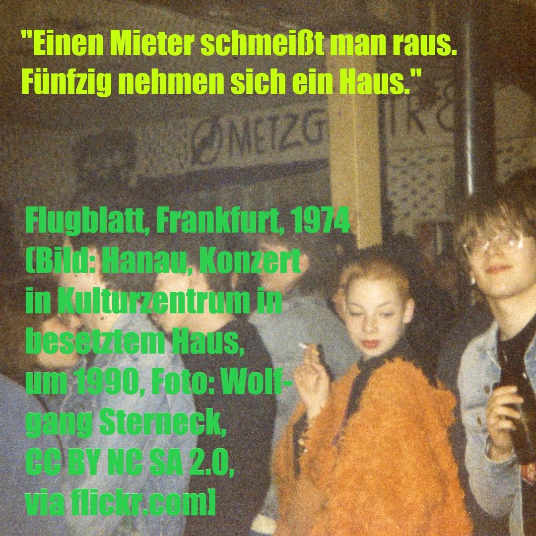 Hanau, Konzert in Kulturzentrum in besetztem Haus, um 1990 (Bild: Wolfgang Sterneck, CC BY NC SA 2.0, via flickr.com)