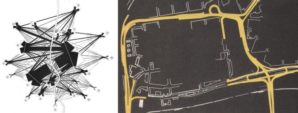 Ludwigshafen, links: der überlastete Ist-Zustand - eine schematische Darstellung der Binnenverkehrsströme über den Rhein hinweg, 1957; rechts: das Wunschziel der Bauverwaltung - ein schematischer Plan für das Hochstraßennetz, 1957 (Bildquelle: Feuchtinger 1957, links: S. 25, Grafik: Max-Erich Feuchtinger; rechts: S. 73, Grafik: o. A.)