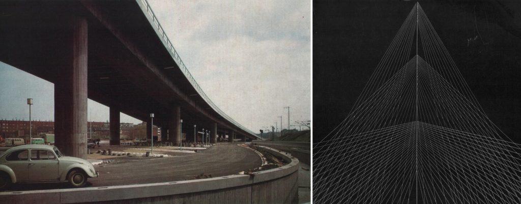 """Ludwigshafen, links: Hochstraße Süd, um 1969; rechts: """"Aluminium/Stahl"""", 1969 (Bildquelle: Schneider 1969, links: S. 99, Werbetafel der Arbeitsgemeinschaft Hochstraße 65, Ludwigshafen, Foto: Schöttle; rechts: Cover, Grafik: Eugen Roth)"""