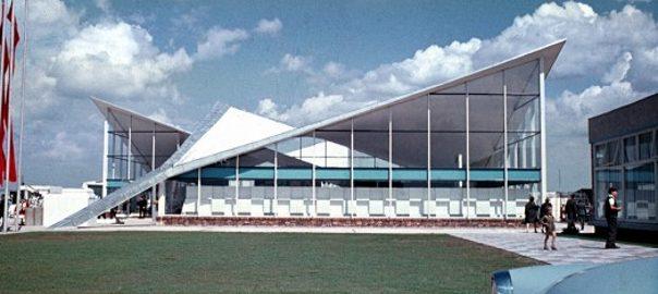 """Erich Kaufmann/Ulrich Müther, Messehalle """"Bauwesen und Erdöl"""" in Rostock-Schutow, 1966 (Bild: © Müther-Archiv, Hochschule Wismar)"""
