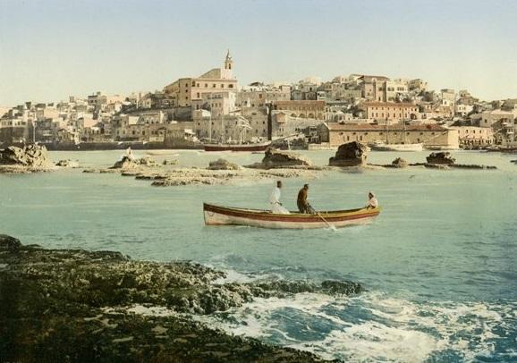 Anlanden in Jaffa (Foto: Bonfils, ca. 1885-95), Photochrom: ca. 1895, Copyright: Gustaf-Dalman-Institut)