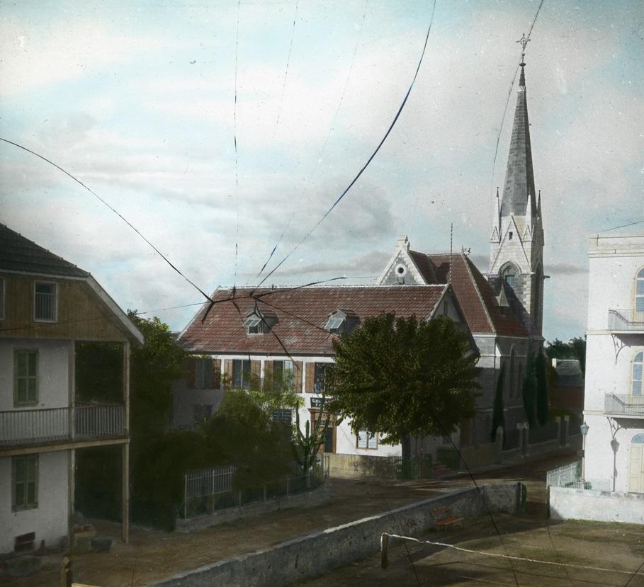 Deutsche Kolonie in Jaffa (Glasplattendia, nach 1904, Bild: Photoverlag Bruno Hentschel, Copyright: G.-Dalman-Sammlung)