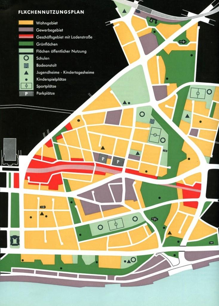 """Flächennutzungsplan von Ernst May für das Wiederaufbaugebiet """"Neu-Altona"""", 1955 (Bild: Neue Heimat, Hamburgisches Architekturarchiv)"""