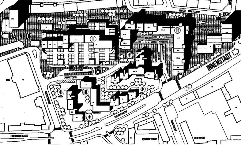 Wettbewerbsbeitrag des Hamburger Architekten Peter Neve für ein Multifunktionsensemble mit Einkaufszentrum, Büros und Wohneinheiten 1968 (Bild: Neue Heimat, Hamburgisches Architekturarchiv)