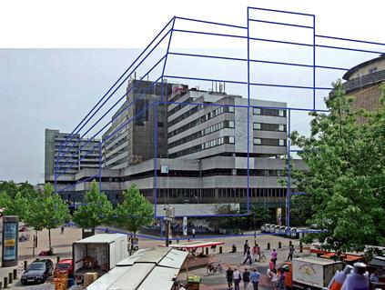 """Die Befürchtungen der IKEA-Gegner bezogen sich u.a. auf eine Steigerung des Bauvolumens in der Großen Bergstraße. Auf Flugschriften verbreitete sich 2009 die Gegenüberstellung von """"frappant"""" und geplantem IKEA-Neubau (Bild: privat)"""