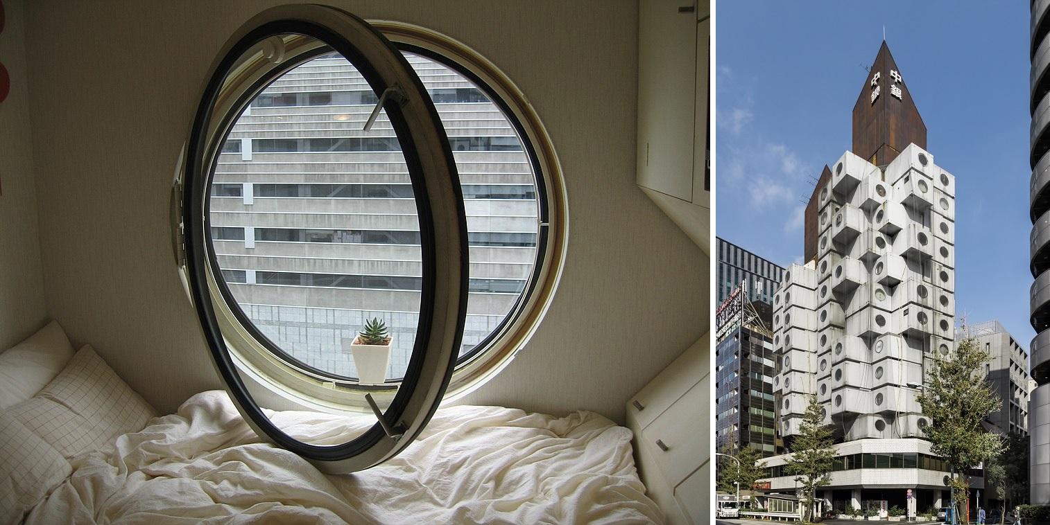 Nakagin, Capsule Tower (Bild: links: urbzoo, CC BY 2.0, via flickr; rechts: Kakidai, CC BY SA 4.0)
