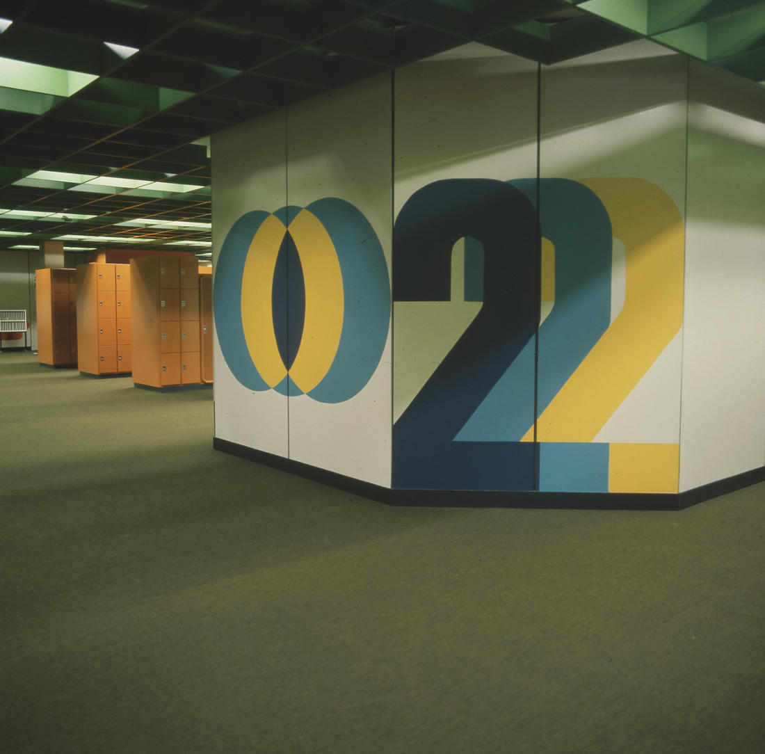 Bremen, Gemeinschaftszentrum Obervieland, Schulforum (Architekten PJS, 1973–1978) (Bild: SAIB G124)