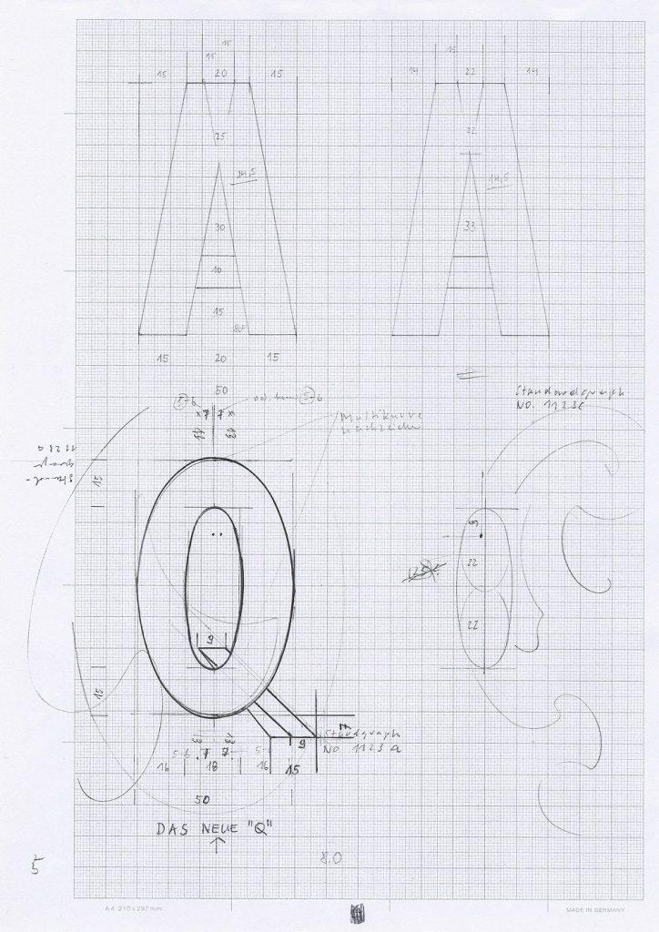 Alfabeto apuano 8.1, 2013, 21,0 x 29,7 cm, Bleistift, Kugelschreiber auf Millimeterpapier, Konstruktion (Bild: H. F. Taffelt)