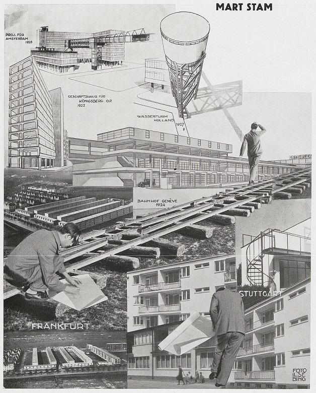 Arbeiten von Mart Stam bis 1930: unten rechts: die Frankfurter Hellerhofsiedlung als Vorbild für Magnitogorsk (Bild: Fotomontage Ilse Bing, aus: Das neue Frankfurt 9, 1930)