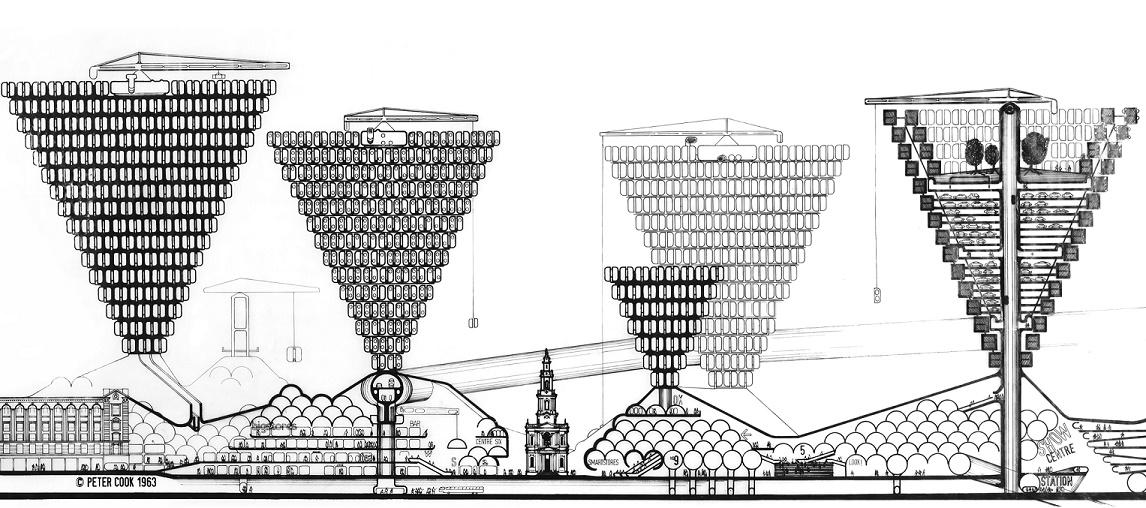 Archigram (Peter Cook), Plug-in City, 1963 (© Deutsches Architekturmuseum)
