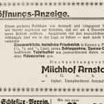 Anzeige zur Eröffnung des Milchhofa am 4. Dezember 1928 im Arnstädter Anzeiger