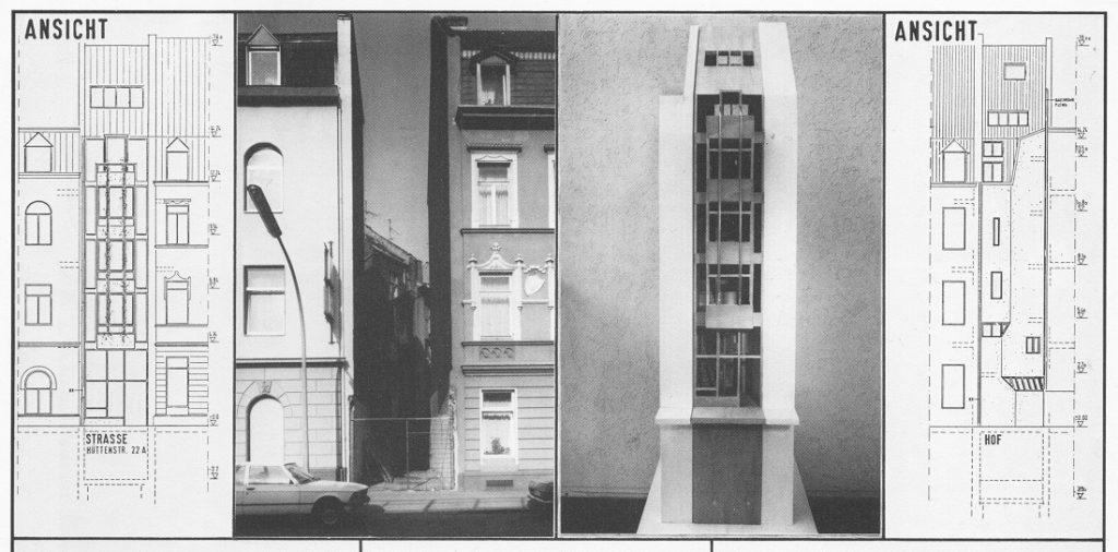"""Modellhafte Planung für ein Einfamilienhaus in der Hüttenstraße  (Meyer und Tomadich) aus der Kölner BDA-Publikation  """"Bauen in der Lücke"""" von 1984 (Bild: Seitendetail)"""