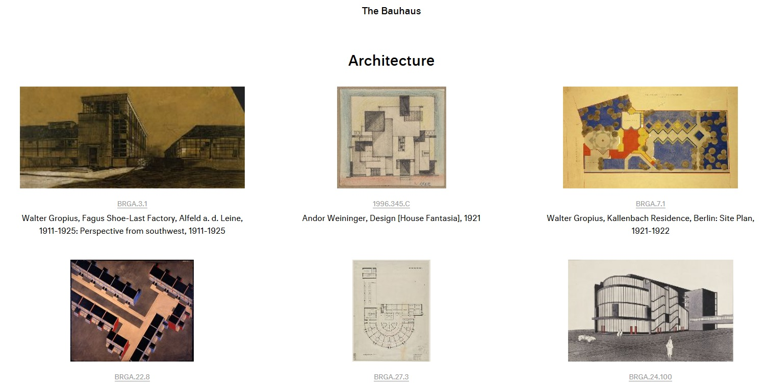 Bauhaus-Materialien (Screenshot: www.harvardartmuseums.org)