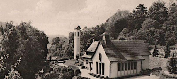 Bensheim-Schönberg, St. Elisabeth (Bild: historische Postkarte)