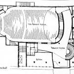 "Berlin, Gloria-Filmpalast, Grundriss 1. Obergeschoss (Quelle: Der ""Gloria-Palast"" in Berlin, in: 44, Bauwelt 47, 1953, S. 927-929)"