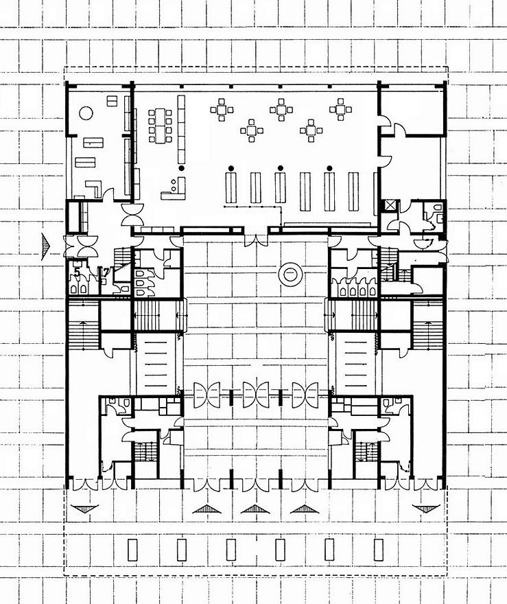 Berlin, Kino International, Grundriss Erdgeschoss (Bildquelle: Deutsche Architektur 12, 1964, 4)