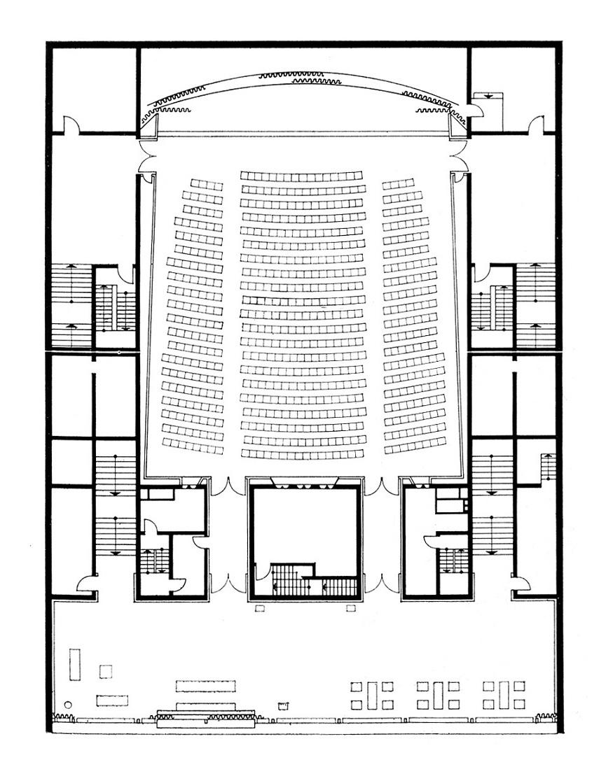 Berlin, Kino International, Grundriss 1. Obergeschoss (Bildquelle: Deutsche Architektur 12, 1964, 4)