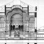 Berlin, Neue Synagoge, Schnitt (Bildquelle: Atlas zur Zeitschrift für Bauwesen, 1866)
