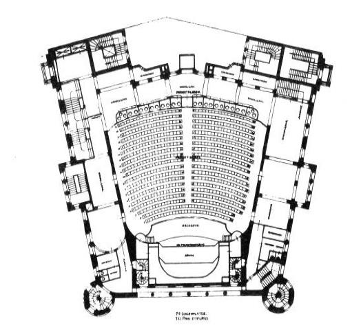 Berlin, erstes Romanisches Haus, Grundriss (Quelle: Vom Filmpalast zum Kinozentrum Zoo-Palast, hg. vom Zentrum am Zoo Geschäftsbauten AG, Berlin 1983, S, 30)