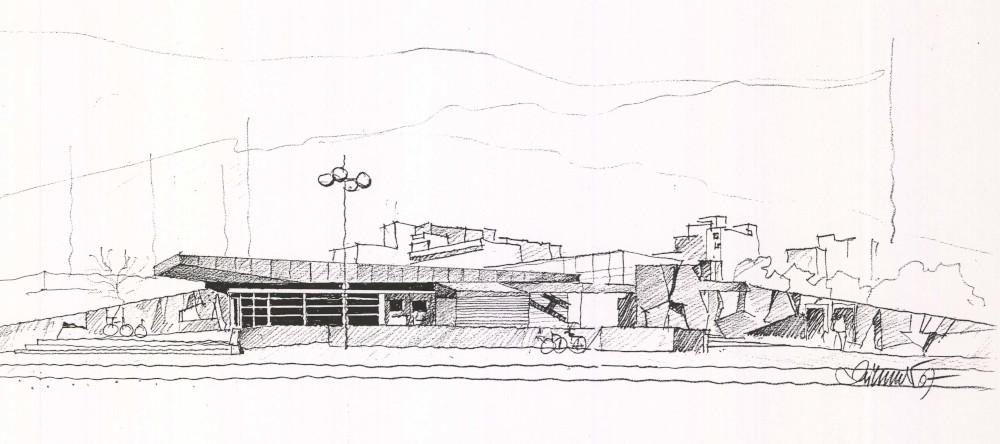 "Berlin, U-Bahnhof ""Zwickauer Damm"", Entwurf Rainer G. Rümmler, 1967-69, Eröffnung Januar 1970 (Bild: Entwurfszeichnung, Rainer G. Rümmler, Bildquelle: Landesarchiv Berlin, E-Rep 300-70 Nr.1(14))"