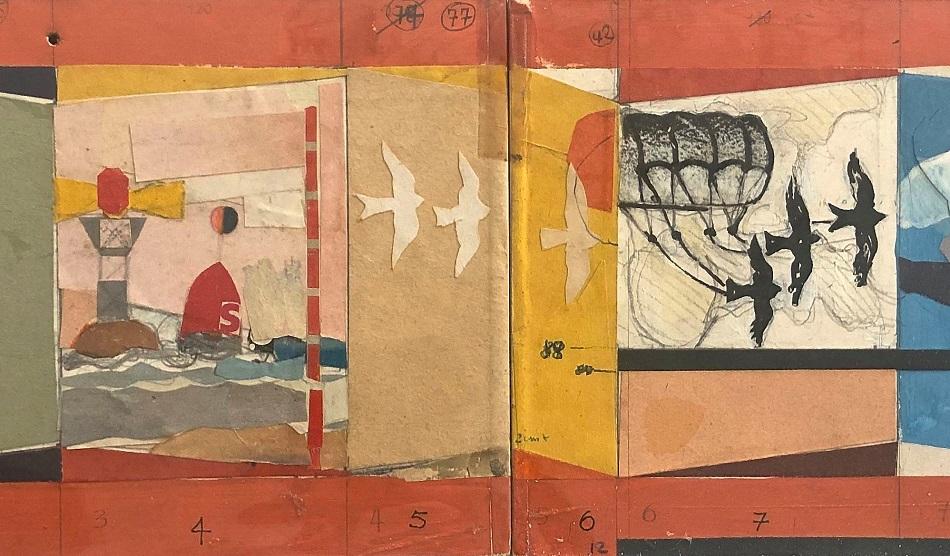Peter Voigt, Collage-Entwurf für ein Wandbild im Heidbergbad iN Braunschweig, um 1973 (Bild: Jessica Reintjes)