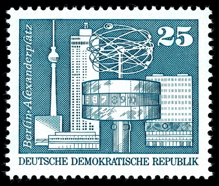 Briefmarke, DDR, 1973, Berlin Alexanderplatz (Scan: MiNr 1854)