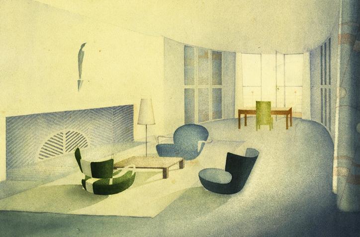 Cäsar Pinnau, Wohnzimmer mit Bibliothek, Studienarbeit, um 1930 (Bild: Hamburgisches Architekturarchiv)