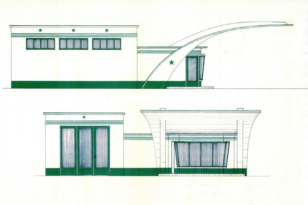 Gestaltungskonzept der Caltex-Tankstellen mit dem markanten Grün (Bild: Sammlung Ulrich Biene)