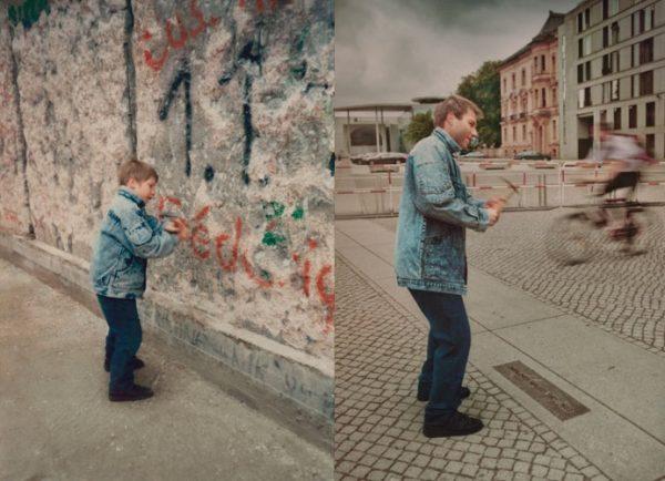 """Irina Werning wurde bekannt durch ihre Serie """"Back to the Future"""", in der sie Kinderfotos nachstellte: Christoph 1990 & 2011 Berlin Wall (Foto: © irinawerning.com)"""