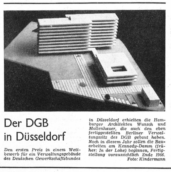 Düsseldorf, Hans-Boeckler-Haus, Modell (Bildquelle: Bauwelt 1964, 24, S. 677)