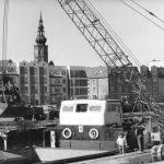 Altstadtplatte soweit das Auge reicht: Greifswald und der Domturm vom Hafen aus gesehen im Juni 1989 (Bild: Bundesarchiv Bild 183-1989-0610-008, CC BY SA 3.0, Foto: Jürgen Sindermann)