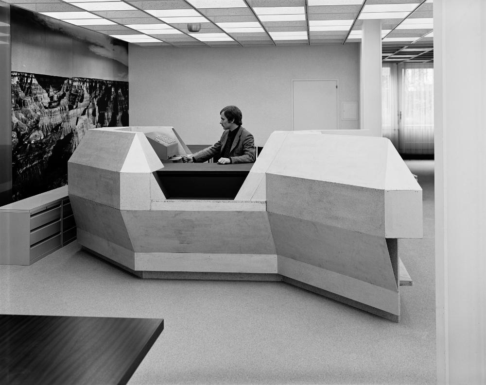 Bankschalter-Prototyp, Wiedemar AG, 1971 (Foto: Beat Jost, Copyright: Staatsarchiv des Kantons Bern)