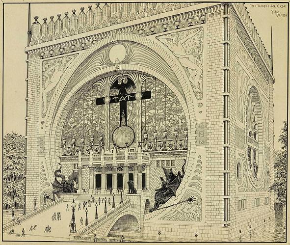 Fidus, Der Tempel der Erde, 1901, Druck 40 × 50 cm (© ehemals Eugen Lucius, Frankfurt am Main/Courtesy Villa Grisebach, Berlin/VG Bild-Kunst Bonn, 2015)