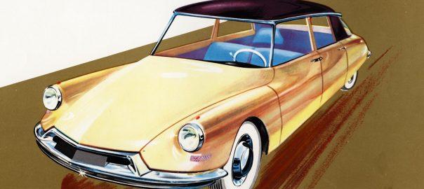 Flaminio Bertoni: Zeichnung der Citroën DS aus dem Jahr 1959 (Bild: historisches Prospektfoto)