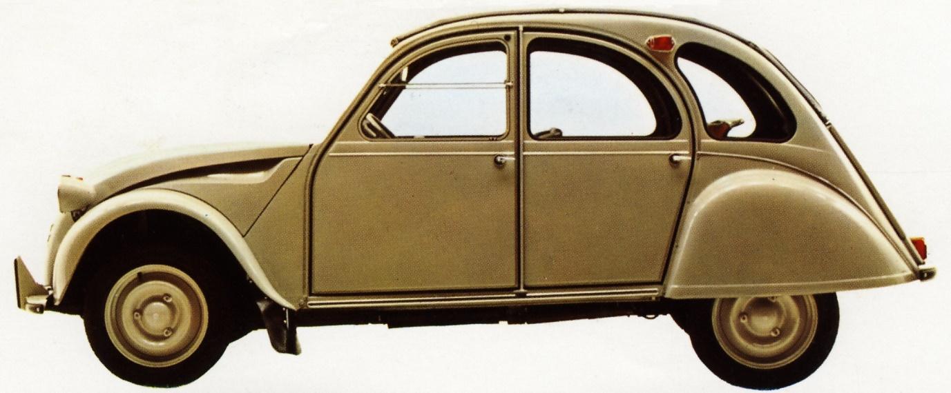 """Flaminio Bertoni: der 2 CV, der liebevoll """"Ente"""" genannt wird, aus dem Jahr 1949 (Bild: historischer Prospekt)"""