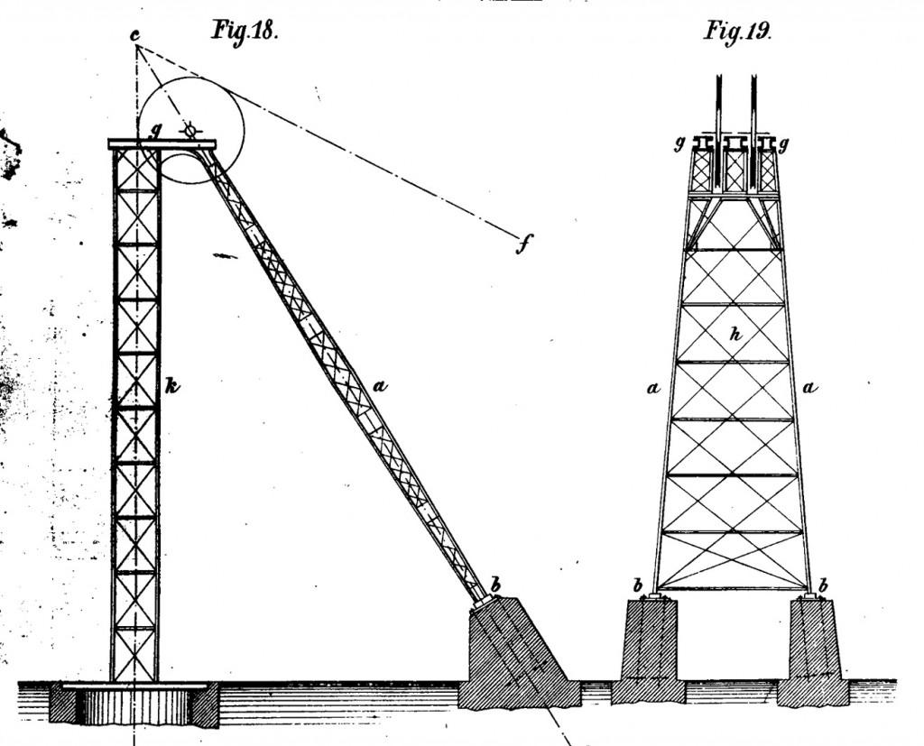 Sog. Deutsches Strebengerüst (Bauart: Promnitz) (Bild: Eichenauer, A., Die Seilscheibengerüste der Bergwerks-Förderanlagen, Leipzig 1877)