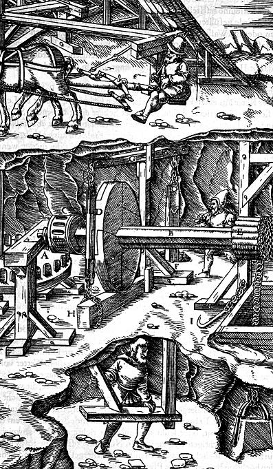 Pferdegöpel (Holzschnitt: Agricola, G., Vom Bergkwerck XII Bücher, Basel 1557 (Reprint: Berlin 1928), Scan: W. Buschmann)