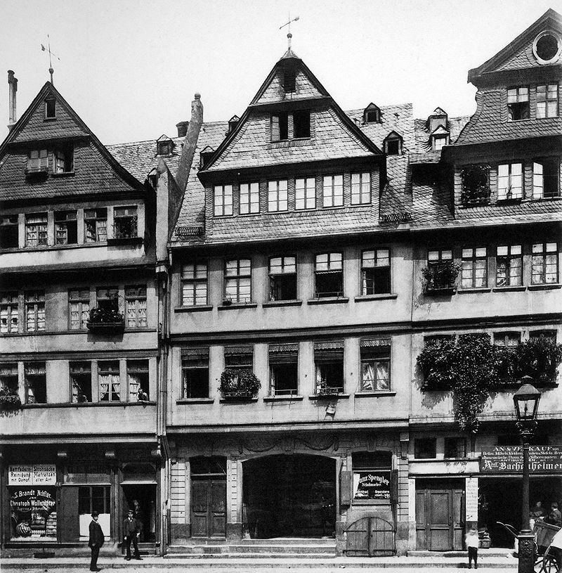Frankfurt/Main, Saalgasse 6-8, Scharnhäuser, um 1880 (Bild: C. F. Mylius)